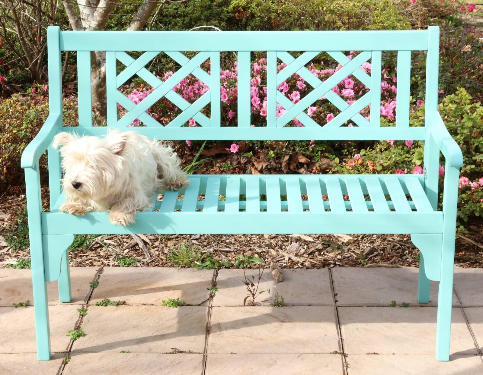 Outdoor Hardwood Timber Garden Bench 2 Seater Turquoise Foldableo
