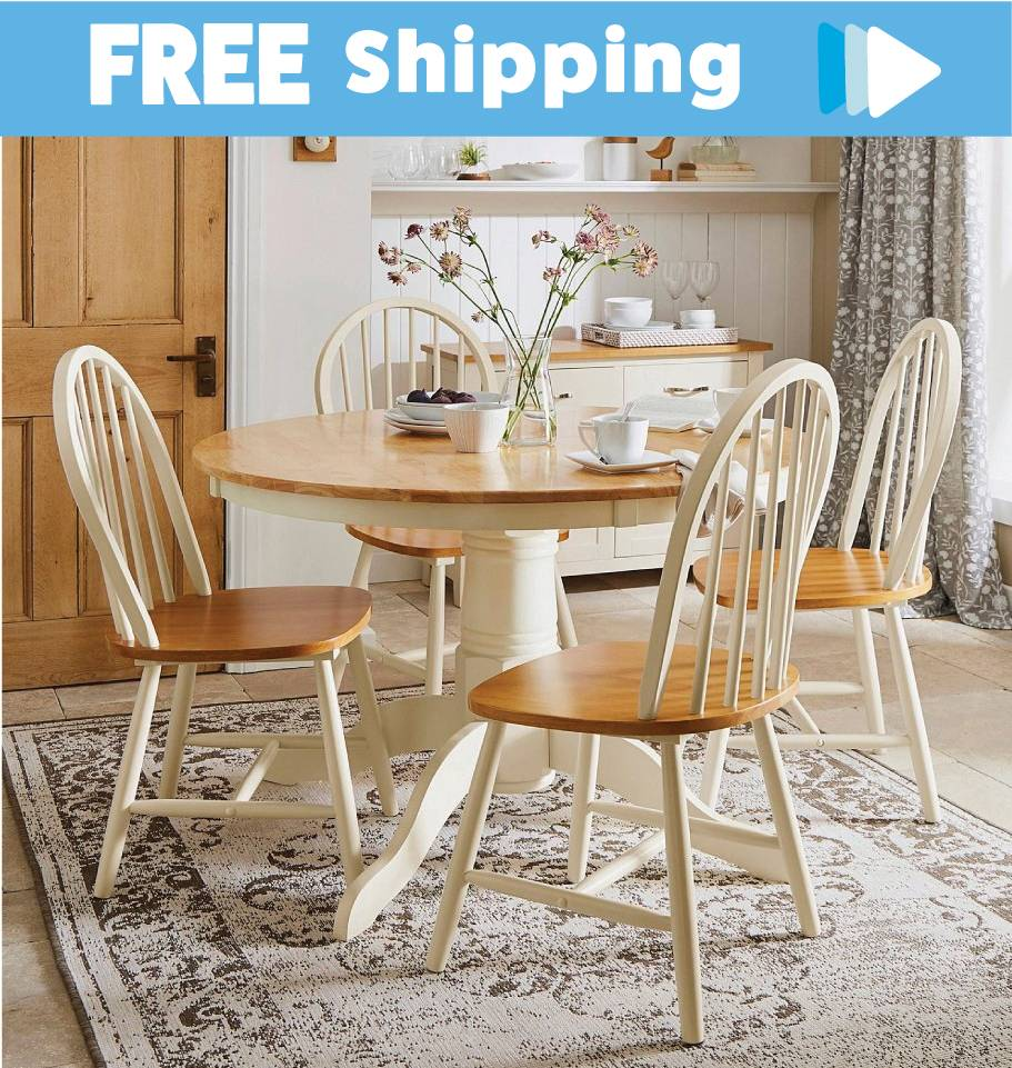 5pc Country Dining Setting - Table and Chairs Padstow Farmhouse