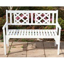 Outdoor Hardwood Timber Garden Bench 2 Seater White Foldable