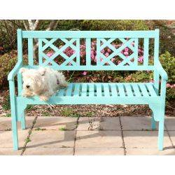 Outdoor Hardwood Timber Garden Bench 2 Seater Turquoise Foldableo