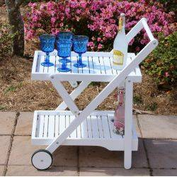 Drinks Trolley White Acacia  Hardwood Foldable